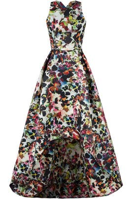 Multi Floral High Low Gown by ML Monique Lhuillier