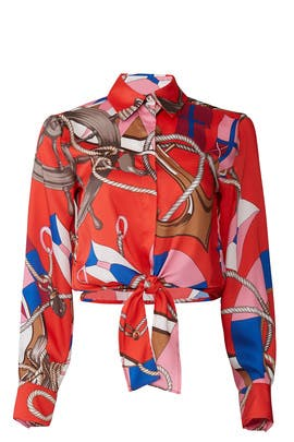 Red Printed Tie Blouse by MSGM
