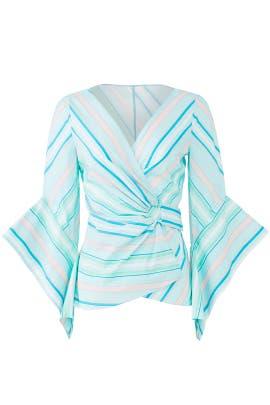Mint Stripe Wrap Top by Peter Pilotto