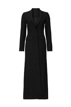 Black Pinstripe Long Coat by Sweet Baby Jamie