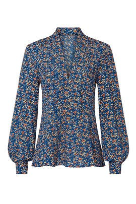 Blue Floral Printed Blouse by Derek Lam Collective
