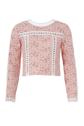Pink Contrast Lace Top by Endless Rose