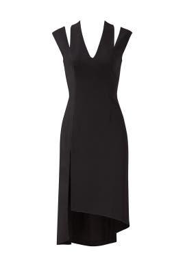Black Slit Asymmetrical Dress by Halston Heritage