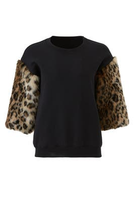 Faux Leopard Sleeve Sweatshirt by Harvey Faircloth