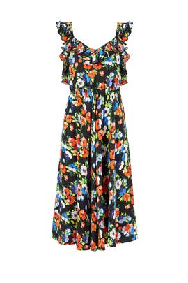 Bright Floral Ruffle Dress by MSGM