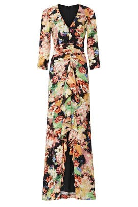 Floral Ruched Gown by Badgley Mischka