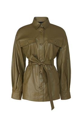 Olive Faux Leather Jacket by Love, Whit by Whitney Port