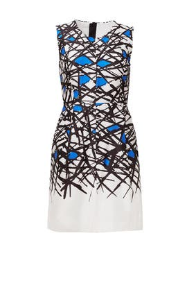 Cobalt Scribble Print Dress by Milly