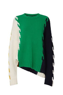 Multi Patchwork Cable Knit Sweater by MONSE