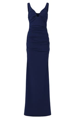 Navy Plunge Crepe Gown by Nicole Miller