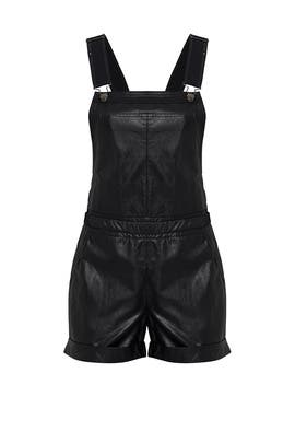 Black Faux Leather Overall Romper by Greylin