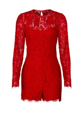 Laced Red Tonal Romper by Slate & Willow