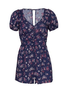 Navy Floral Puff Sleeve Romper by Louna
