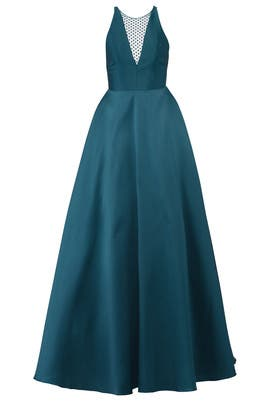 Teal Mesh Ball Gown by ML Monique Lhuillier