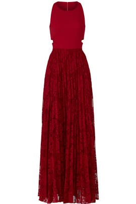 Red Cutout Gown by Sachin & Babi