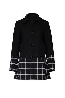 Black Windowpane Wool Coat by Slate & Willow