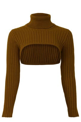 Knitted Olive Crop Sweater by Thebe Magugu