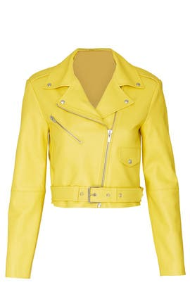 Yellow Baby Jane Leather Jacket by VEDA
