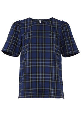 Plaid Puff Sleeve Blouse by Draper James