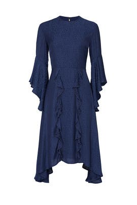 Navy Printed Ruffle Dress by Great Jones