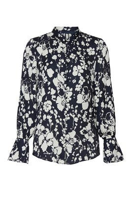 Blue Floral Tariana Blouse by Joie