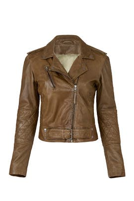 Olive Leather Jacket by Nicole Miller
