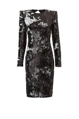 Silver Black Sequin Sheath by NAEEM KHAN