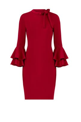 Red Ruffle Sleeve Dress by Alexia Admor