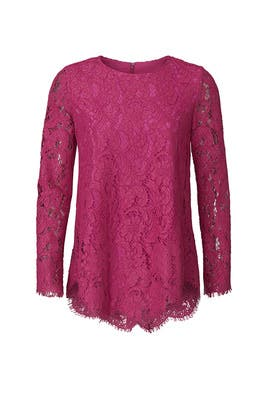 Magenta Lace Top by Adam Lippes Collective