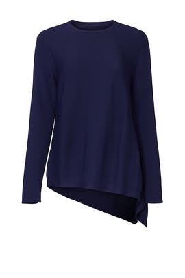 Blue Asymmetrical Knit Pullover by Derek Lam Collective