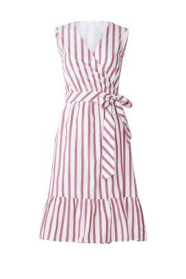 Stripe Faux Wrap Tank Dress by Draper James