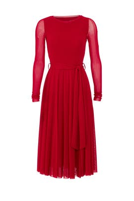 Red Sheer Sleeve Midi Dress by Fuzzi