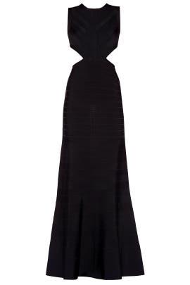 Black Cassandra Signature Essentials Gown by Hervé Léger