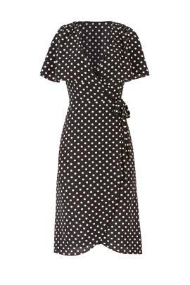 Black Polka Dot Wrap Dress by Slate & Willow