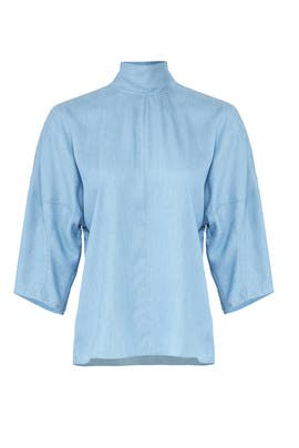 Chambray Drape Sculpted Top by Tibi