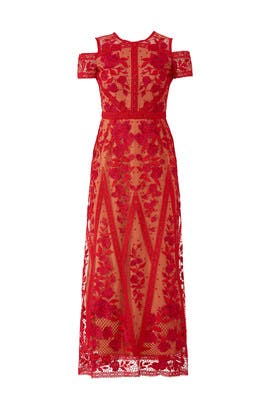 Red Lace Tea Length Dress by Marchesa Notte
