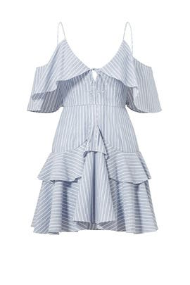 Blue Striped Astrid Ruffle Dress by Nicholas