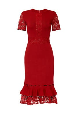 Lace Ruffle Hem Dress by Sachin & Babi