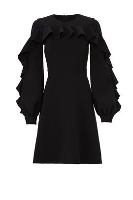 Black Front Ruffle Dress by Christian Siriano