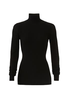 Pointelle Mock Neck Sweater by Diane von Furstenberg