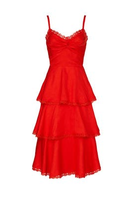 Red Tiered Midi Dress by Marchesa Notte