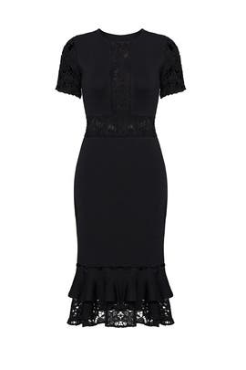Black Flutter Lace Dress by Sachin & Babi