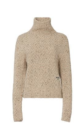 Camel Chunky Turtleneck by Tory Burch