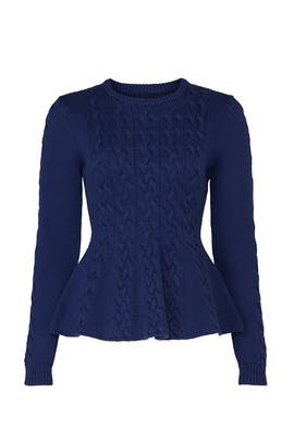Blue Peplum Sweater by Jason Wu Collective
