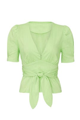 Lime Pinstripe Top by Moon River