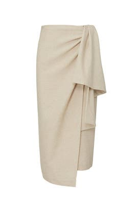 7fb6da76bf Beige Front Wrap Midi Skirt by Tome
