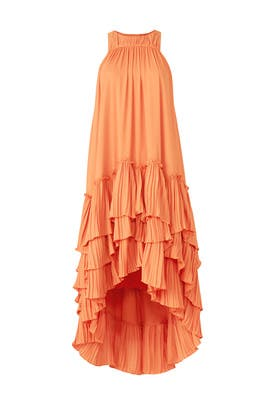 Orange Ruffle Shift by HALSTON