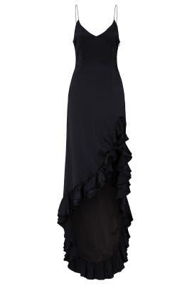 Black Ruffle Slip Gown by CAROLINE CONSTAS