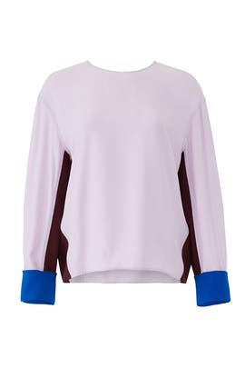 Colorblock Satin Blouse by Diane von Furstenberg