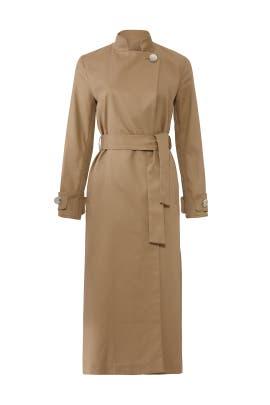 Side Buttoned Beige Coat by Osman